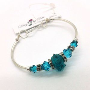 Blue Zircon Glass & Crystal Floral Fitted Bangle